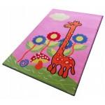 Vaikų kilimas rausvas 200x300 žirafa