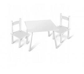 Vaikiškas stalas + 2 kėdės BALTAS