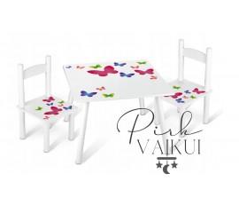 Vaikų stalas + 2 kėdės Drugelis