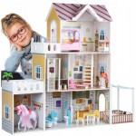Medinis lėlių namas su LED apšvietimu ir arkliuku