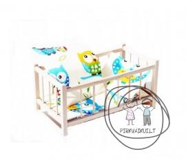 Medinė lėlių lovytė su pataliukais