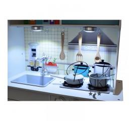Medinė virtuvė Vintage Blue su LED apšvietimu